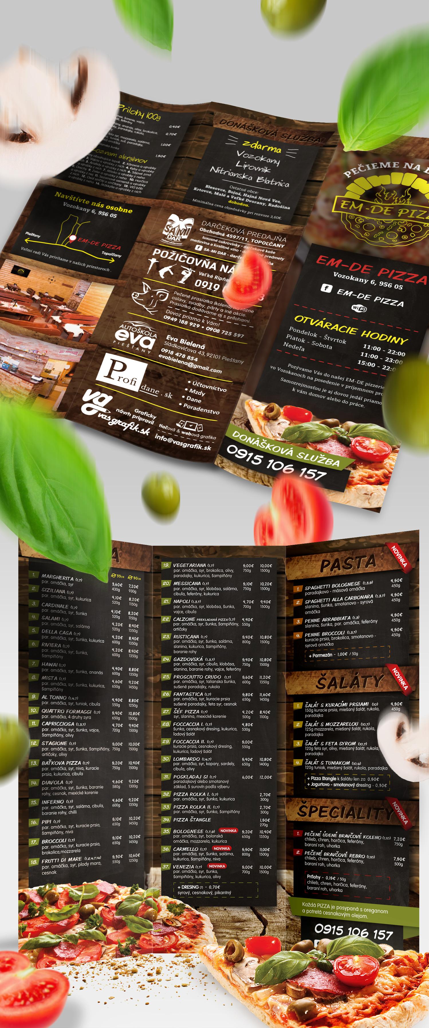 pizzeria menu, graficky navrh a tlač DL menu, návrh pizza menu
