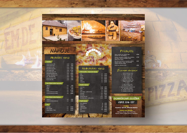 pizzeria menu, graficky navrh a tlač DL menu