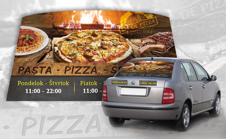 pizzeria graficky navrh polep auta