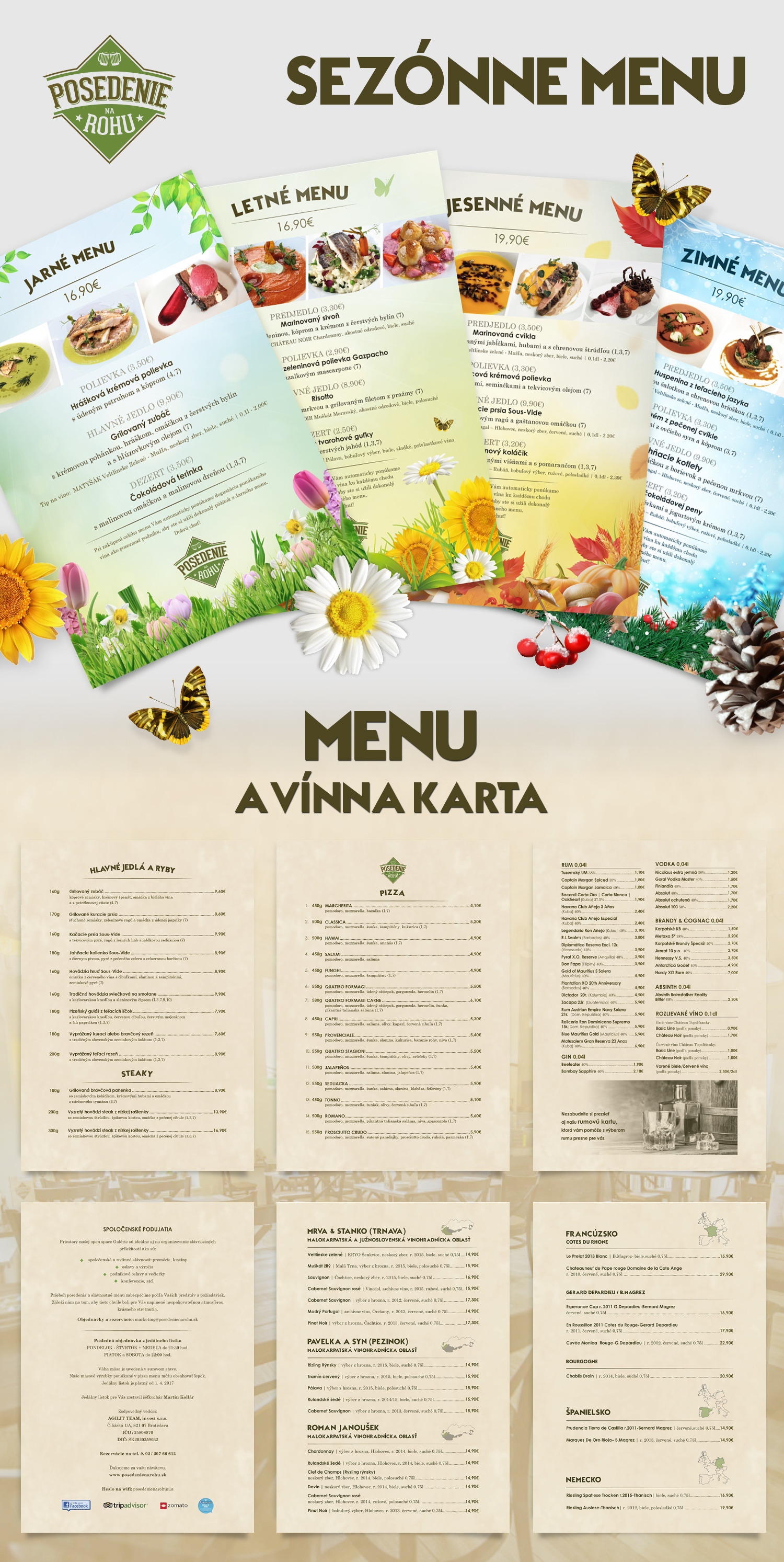 restauracia Posedenie na rohu graficky navrh menu a promo materialov