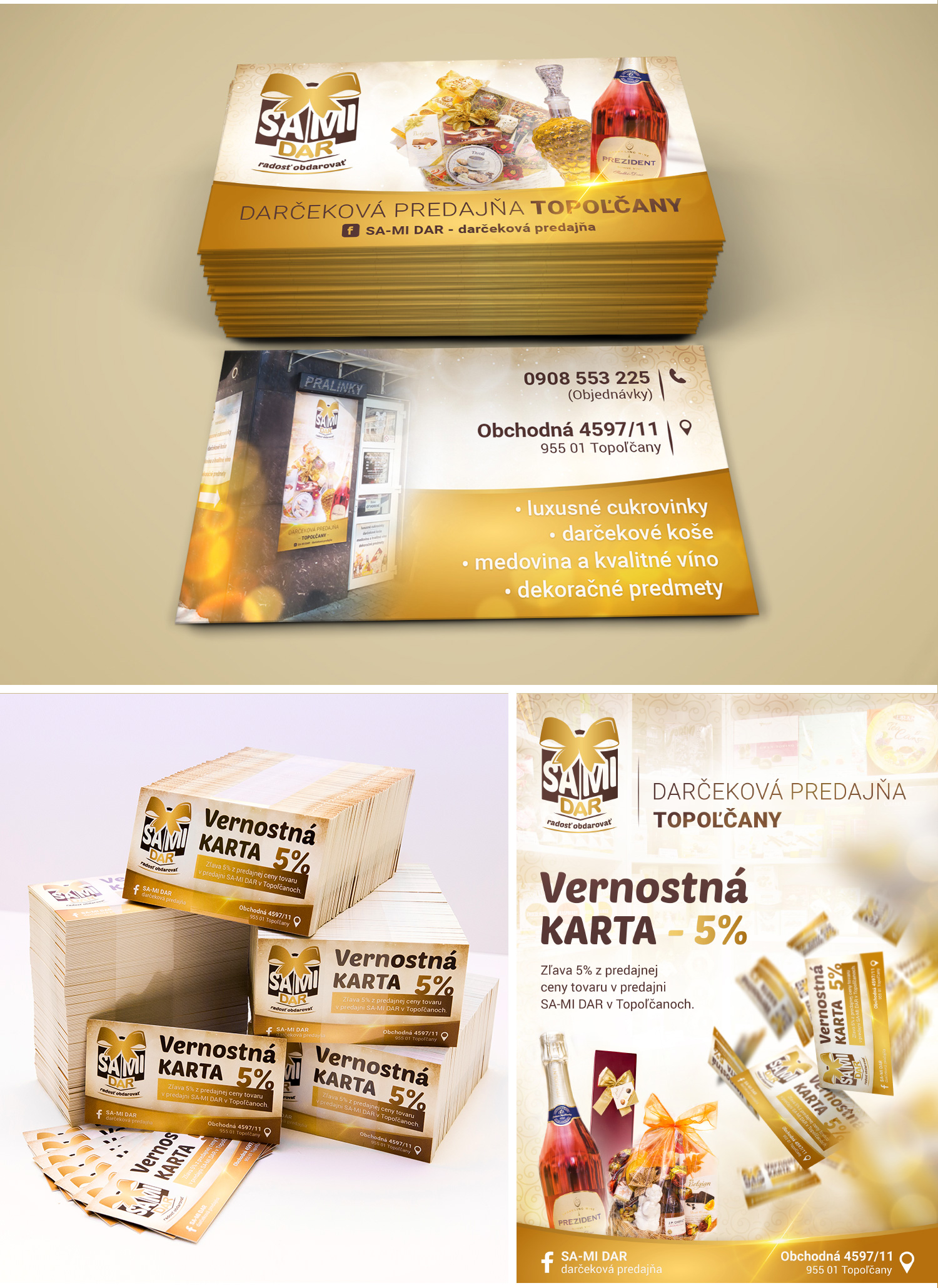 samidar vizitky vernostne karty printova reklama, graficke navrhy