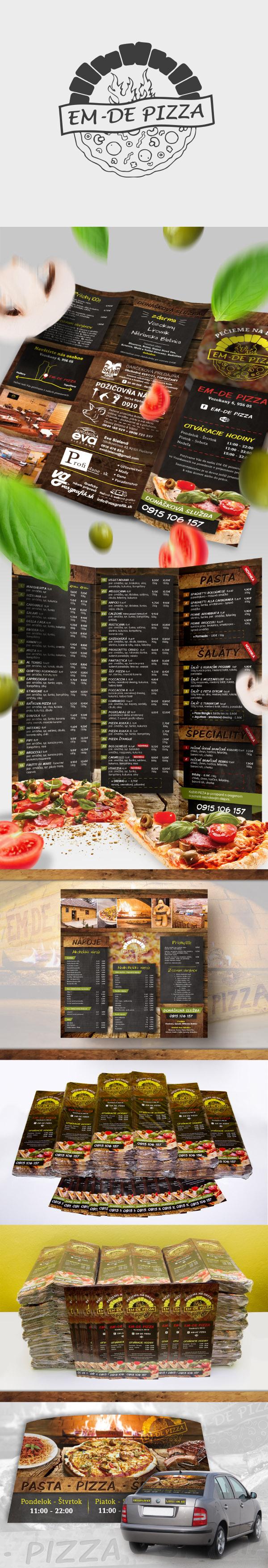 pizzeria menu, graficky navrh a tlač DL menu>
