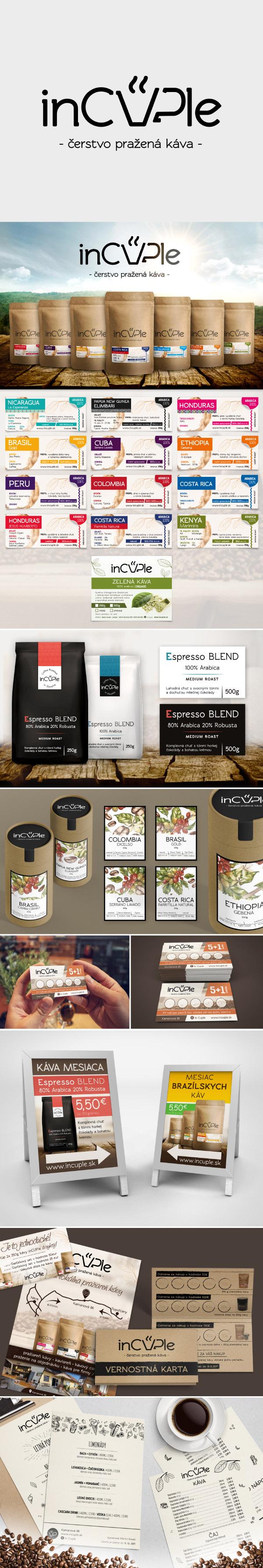 Samolepiace etikety na kávu, grafický návrh etikiet, veľkoformátová tlač>